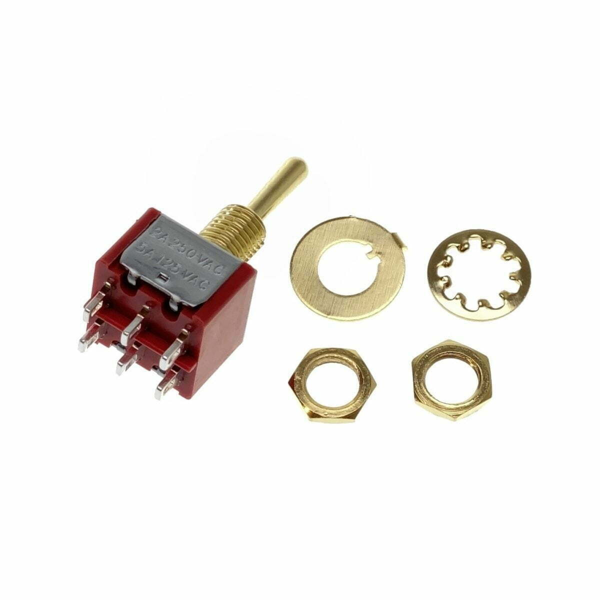 Gold DPDT On-On-On Toggle Switch [Round Bat]